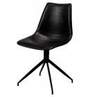 Spisebordsstol - Dreje funktion - Sort læder