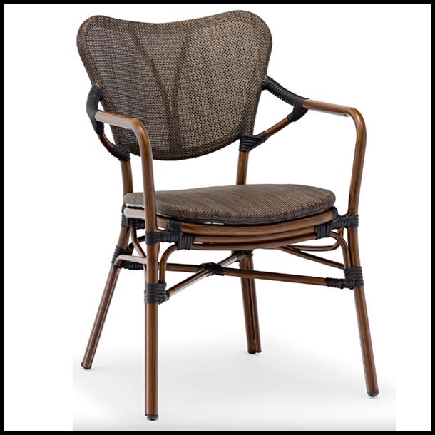 Cafestol - ude stol med armlæn - Aluminium stel