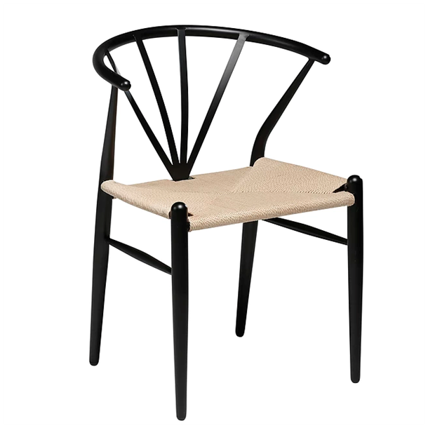 Spisebordsstol - Delta Sort stol med naturflet