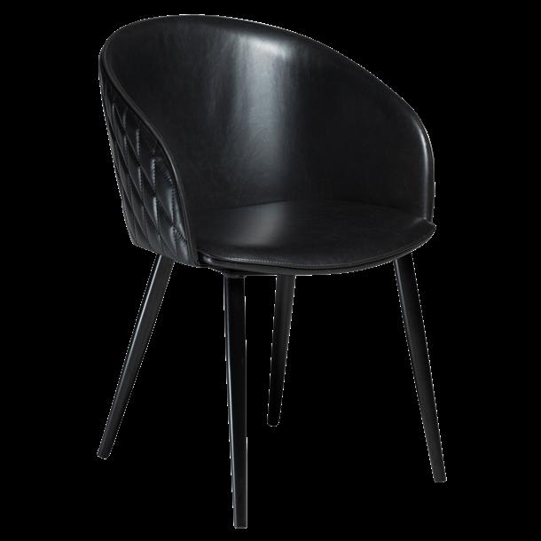Spisebordsstol - Sort læder - Model Dual