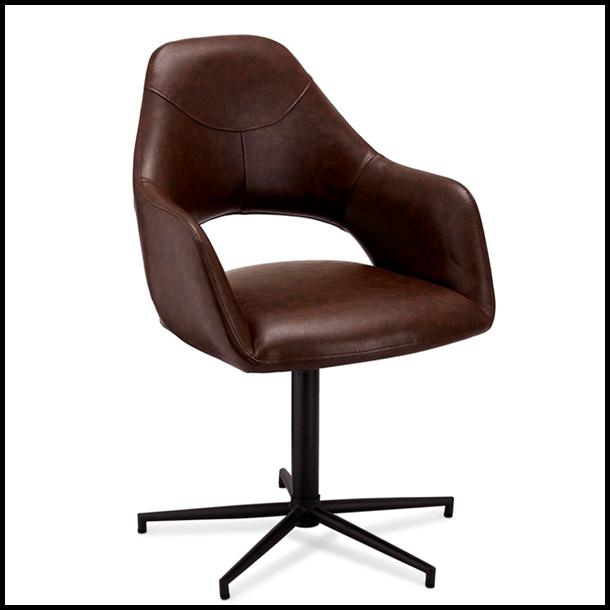 Spisebordsstol - Brun læder - Drejefunktion