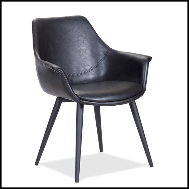 Spisebordsstol - Sort læder - House of Sander