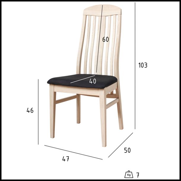 Spisebordsstol - Sæbebehandlet hvid - Egetræ
